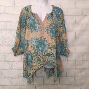 NWT Spense Aqua & Peach Breezy Blouse